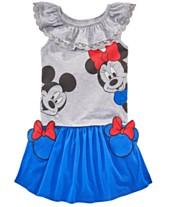 6efcab88befb30 Disney Toddler Girls 2-Pc. Ruffle Trim Top & Minnie Pocket Skirt Set,