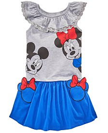 Disney Little Girls 2-Pc. Ruffle Trim Top & Minnie Pocket Skirt Set, Created for Macy's