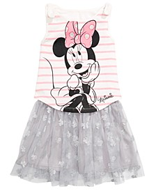 Little Girls 2-Pc. Minnie Mouse Tank Top & Printed Skirt Set, Created for Macy's