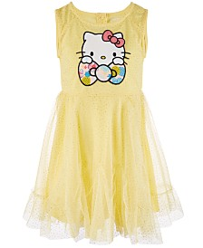 Hello Kitty Little Girls Glitter Mesh Dress, Created for Macy's