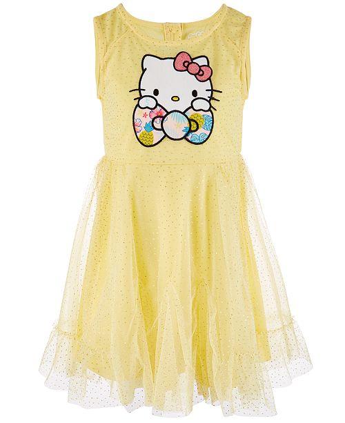 Hello Kitty Little Girls Glitter Mesh Dress, Created for Macy's