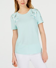 Calvin Klein Embroidered-Floral Top