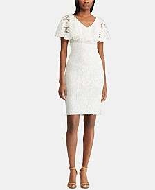 Lauren Ralph Lauren Ruffled-Overlay Floral-Lace Dress