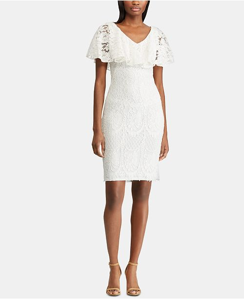 Lauren Ralph Lauren Petite Ruffled-Overlay Lace Dress