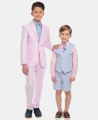 Little Boys 4-Pc. Seersucker Vest, Shorts, Dress Shirt & Tie Set