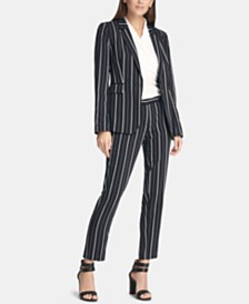 DKNY Striped One-Button Blazer, Ruched Top, & Slim Pants