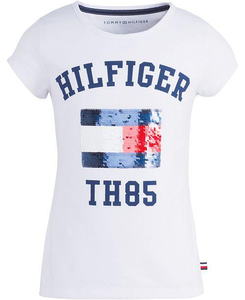 Tommy Hilfiger Big Girls Reversible Sequin Graphic-Print T-Shirt