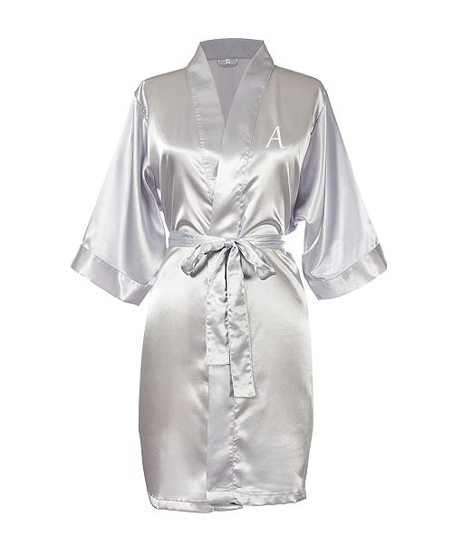 Cathy's Concepts Personalized Luxury Silver Satin Robe (L- XL)
