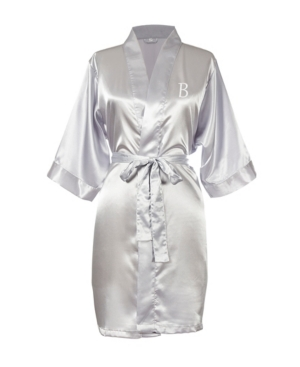 Cathy's Concepts Robes PERSONALIZED LUXURY SILVER SATIN ROBE (S- M)