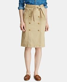 Lauren Ralph Lauren Twill Belted Skirt