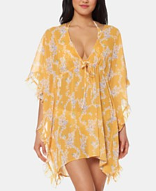 Jessica Simpson Floral Frill-Side Chiffon Cover-Up Dress