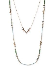 """lonna & lilly Gold-Tone Beaded Two-Row Long Necklace, 28"""" + 3"""" extender"""