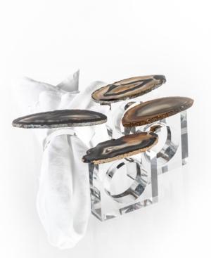 Brasil Home Decor Natural Agate Napkin Rings - Set of Four