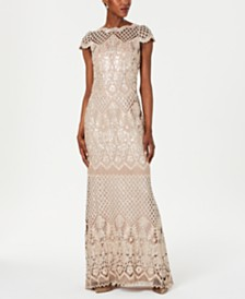 Tadashi Shoji Embroidered Sequined Gown