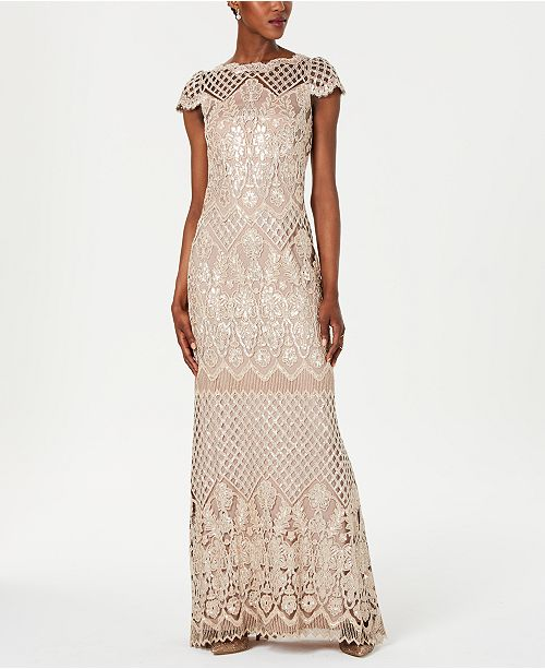 Tadashi Shoji Embroidered Sequined Gown Reviews