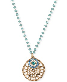 "lonna & lilly Gold-Tone Imitation Turquoise Openwork Pendant Necklace, 28"" + 3"" extender"