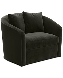 "Hotel Collection Elisabeta 46"" Fabric Swivel Chair, Created for Macy's"