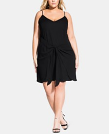 City Chic Trendy Plus Size Tie-Front Shift Dress