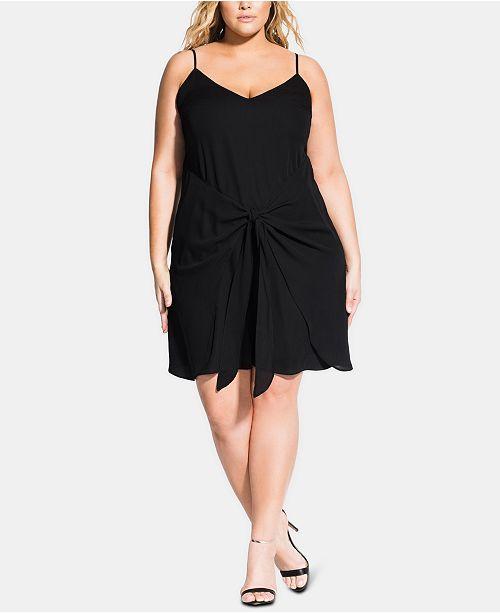 City Chic Trendy Plus Size Tie-Front Shift Dress