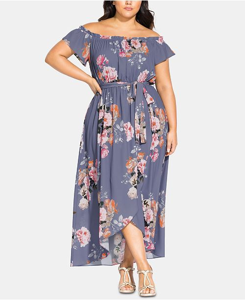 City Chic Trendy Plus Size Florence Off-The-Shoulder Maxi Dress