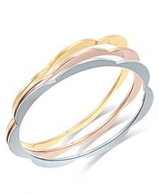 Tri-Tone 3-Pc. Set Scalloped Bangle Bracelets