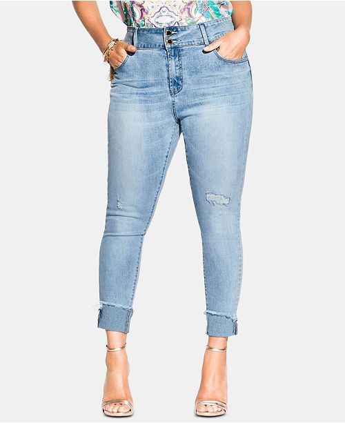 City Chic Trendy Plus Size Asha Cropped Skinny Jeans