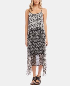Karen Kane Sleeveless Floral-Print Handkerchief-Hem Dress