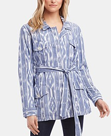 Printed Belted Cotton Jacket