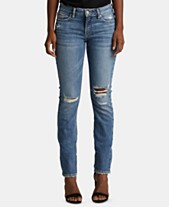 09945724 Silver Jeans Co. Elyse Ripped Straight-Leg Jeans