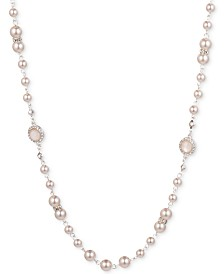 "Anne Klein Silver-Tone Pink Imitation Pearl All-Around Necklace, 16"" + 3"" extender"