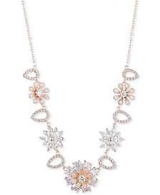 "Anne Klein Rose Gold-Tone Crystal Floral Frontal Necklace, 16"" + 3"" extender"