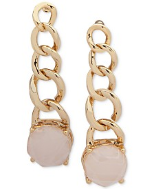 Lauren Ralph Lauren Gold-Tone Blush Stone Chain Linear Earrings
