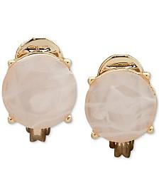 Lauren Ralph Lauren Gold-Tone Blush Stone Clip-On Stud Earrings