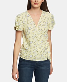 1.STATE Blossom Printed Wrap-Front Top