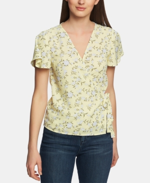 1.state Tops BLOSSOM PRINTED WRAP-FRONT TOP