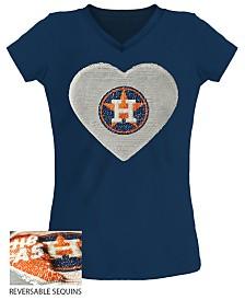 5th & Ocean Big Girls Houston Astros Flip Sequin T-Shirt