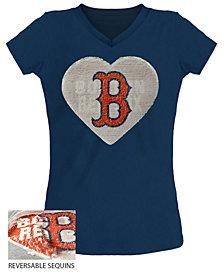 5th & Ocean Big Girls Boston Red Sox Flip Sequin T-Shirt