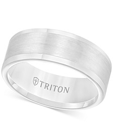 Men's Ring, 8mm Wedding Band in White or Black Tungsten