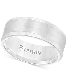 Triton Men's Ring, 8mm Wedding Band in White or Black Tungsten