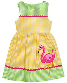 Rare Editions Little Girls Colorblocked Flamingo Gingham Dress