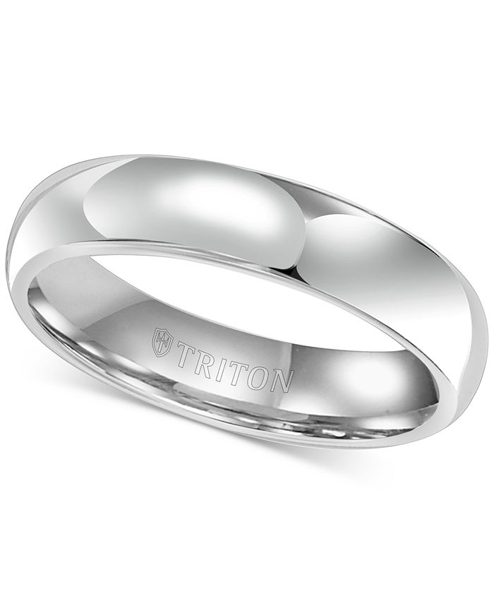 Triton - Men's White Tungsten Carbide Ring, Dome Wedding Band (5mm)