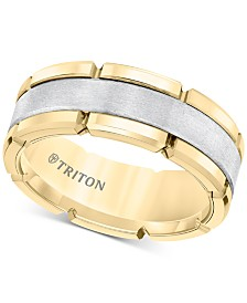 Comfort-Fit Band (8mm) in Yellow & White Tungsten Carbide, Also Available in Rose & Black and Rose & White Tungsten