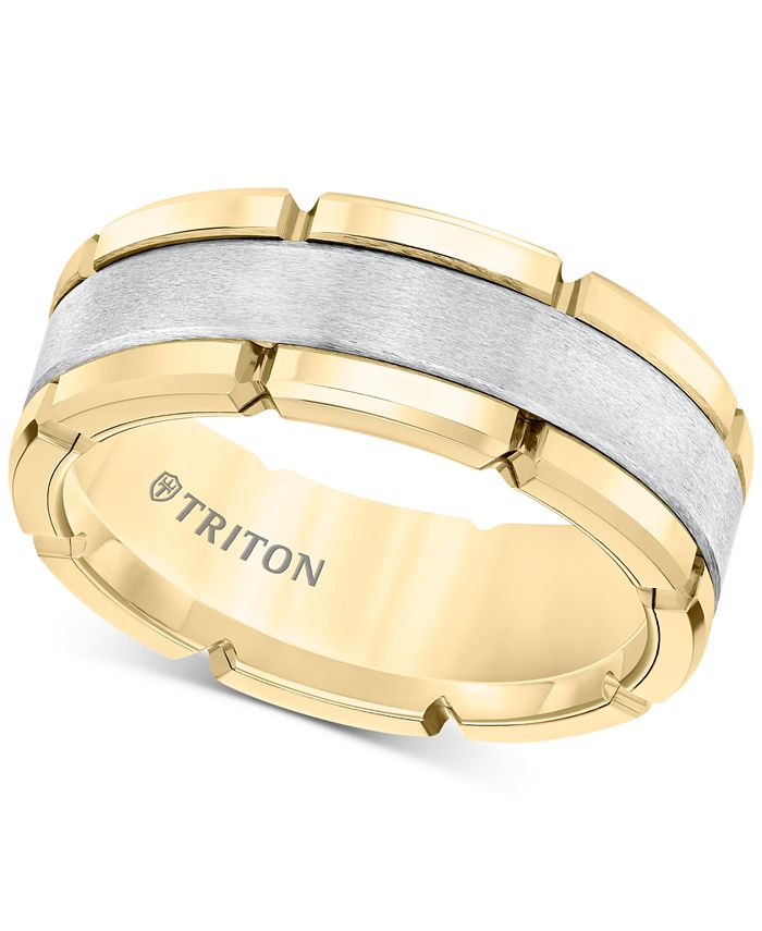 Triton - Comfort-Fit Band (8mm) in Yellow & White Tungsten Carbide, Also Available in Rose & Black and Rose & White Tungsten