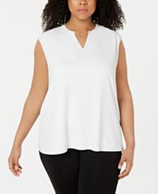Calvin Klein Plus Size Chain-Embellished Split-Neck Top