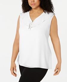 Calvin Klein Plus Size Ruffled Button-Neck Top