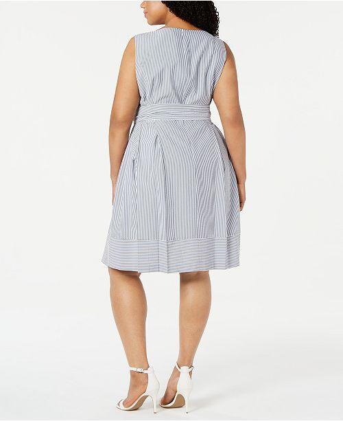 Anne Klein Plus Size Seersucker Fit & Flare Dress & Reviews ...