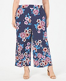 Plus Size Printed Wide-Leg Pants