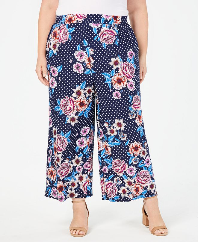 John Paul Richard Plus Size Printed Wide-Leg Pants