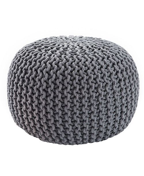 Jaipur Living Visby Gray Textured Round Pouf