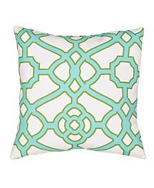 """Jaipur Living Pavilion White/ Aqua Trellis Indoor/ Outdoor Throw Pillow 18"""""""